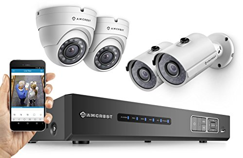 Amcrest ProHD 720P 4CH Video Security System - Four 1.0-Megapixel (1280TVL) Outdoor IP67 Bullet & Dome Cameras, 1TB HDD, Night Vision, Remote Smartphone Access, White Mid (AMDV7204M-2B2D-W) by Amcrest