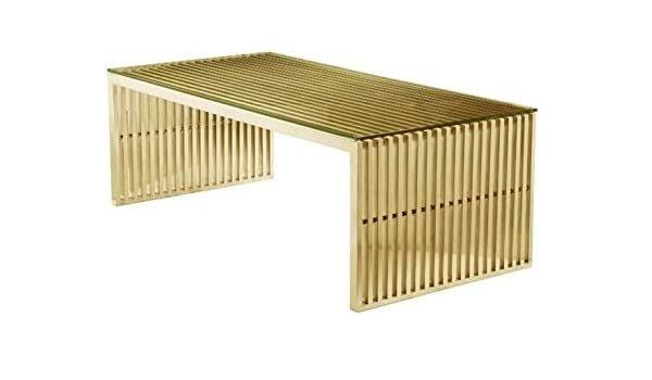 Maya Coffee Table.Amazon Com Maya Steel Rectangular Coffee Table In Brushed Gold