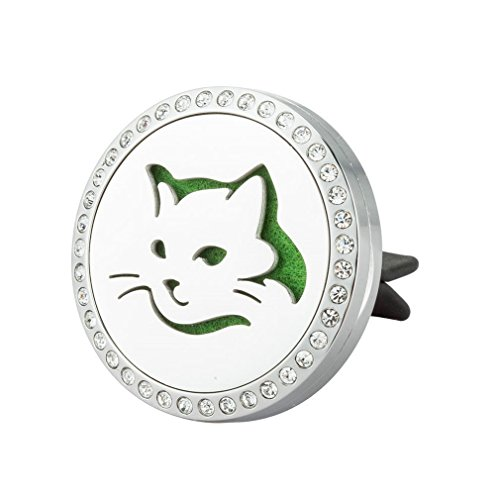 JAOYU Car Air Freshener Aromatherapy Essential Oil Diffuser Vent Clip Stainless Steel Locket Pendant - Cat Lover Gifts for Men Women