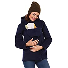 Zeta Ville - Womens Top Maternity Hooded Sweatshirt Babywearing Carrier - 031c