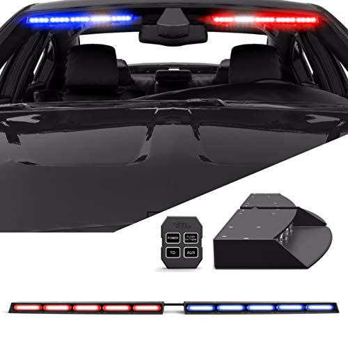 Raptor TIR Interior Upper Windshield Split LED Visor Light Bar for Emergency Vehicle Warning Visor Lights - Red/Blue