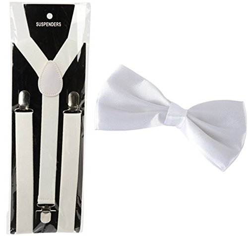 Jazz Era Costumes - Jazz Era 1920's Gangster Cotume Accssory Kit- White Suspenders and Clip On Bow tie