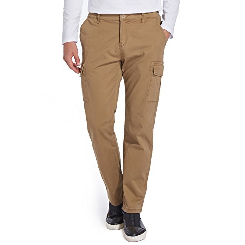 Sirain Mens Relaxed Fit Elastic Cargo Pant Multi-Pockets Cotton Tactical Casual Pants