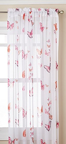 Lorraine Home Fashions 06042-63-00006 PINK Butterflies Tailored Window Curtain Panel, Pink, 54