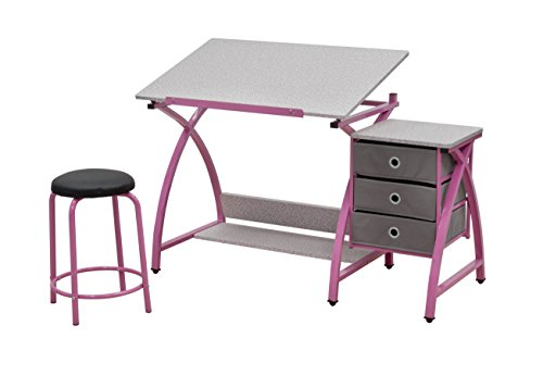 Comet Center with Stool in Pink / Spatter Gray (Best Craft Room Designs)