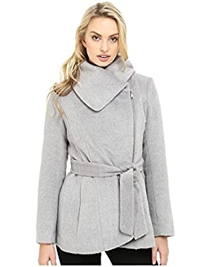 Womens Brushed Wool Touch Coat w/Asymmetrical Zip