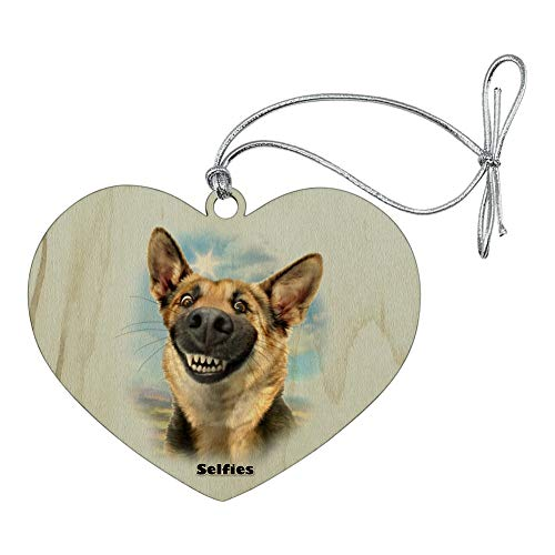 GRAPHICS & MORE German Shepherd Dog Selfie Heart Love Wood Christmas Tree Holiday Ornament Dog Christmas Holiday Ornament