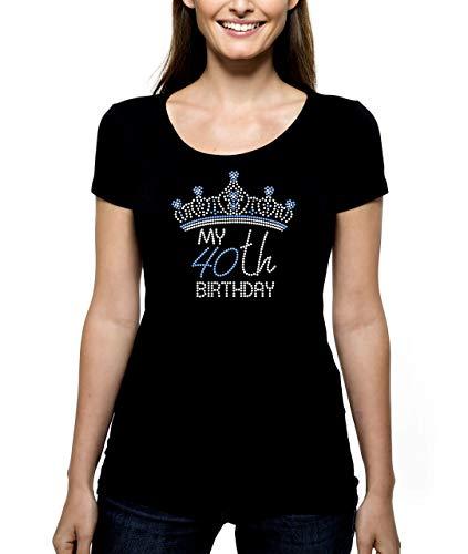 My 40th Birthday Crown Tiara RHINESTONE T-Shirt Shirt Bling - Specify Age and Pick Rhinestone Color 40th 41st 42nd 43rd 44th 45th 46th 47th 48th 49th 40 41 42 43 44 45 46 47 48 49 Scoop V-Neck Crew
