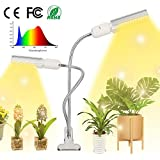 Plant Grow Light for Indoor Plants,Noetrom Sunlike Full Spectrum Grow Lamp,Auto ON & Off with 3/9/12H Timer 5 Dimmable Levels,Dual Head Gooseneck Desk Plant Light for for Seedling Growing Blooming