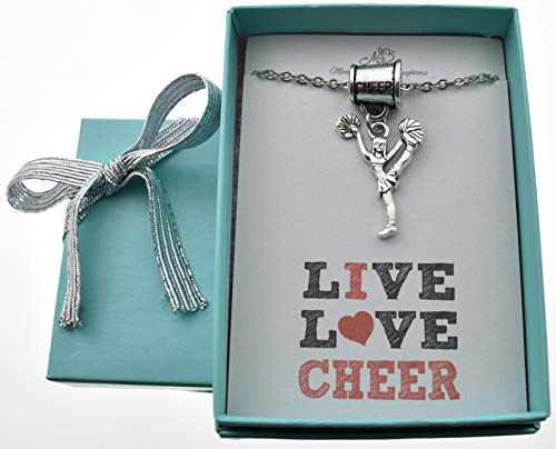 Little Girls, Girls, Teen Cheerleader Necklace with megaphone charm hanger on a 16