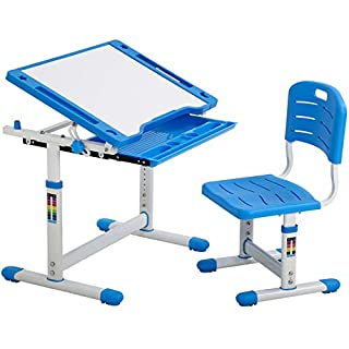 FDW Kids Desk Children Writing Student Desk Drafting Table Height Adjustable Study Table and Chair with Drawers Storage,Blue