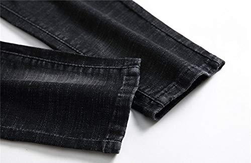 Mendicante Versaces Alla Retro Black Tempo Libero Maschi Ricamo Pantaloni Fori Prugna Jeans Uqtg8rU