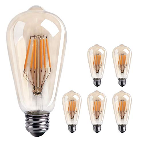 6-Pack Vintage LED Edison Bulbs Dimmable LED Filament Light Bulb, 60W Equivalent, E26 Medium Base for Home, Reading Room, Ceiling Fixtures, Chandeliers and Pendants, Warm