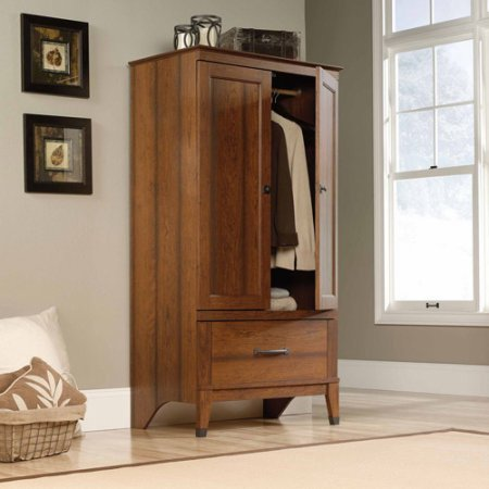 Storage Armoire w Engineered Wood Construction, Cherry Wood Finish, Country Style, Garment Rod Included, Wrought Iron Style Hardware and Accents + Expert Home Guide from LoveUS