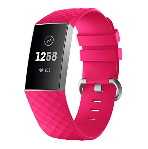 for Fitbit Charge 3 Bands - Soft Silicone Replacement Bands Sport Straps Adjustbable Wristband Watch Band with Metal Buckle Accessories Fitbit Charge 3 Fitness Activity Tracker (Hot Pink)