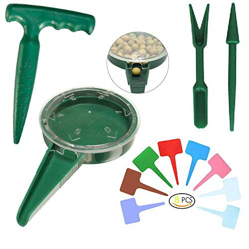 Garden Flower Plant Grass Seed Dispenser,Mini Garden Hand Tool Plant Sets Adjustable Size Disseminator Seeding Sower Dibber and Widger Hole Puncher with Plant Label State Tags(Green)