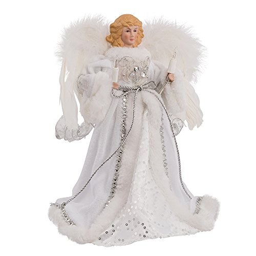 Kurt Adler 10-Light White and Silver Angel Treetop, 12-Inch (Three Little Angels All Dressed In White)
