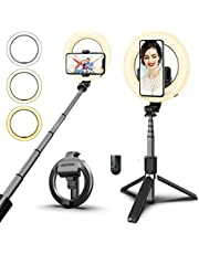 MIUSI [2020 UPGRADED VERSION] Selfie Stick Tripod,Selfie Ring Light,Mini Extendable Tripod Stand Phone ,Circle Light Selfie Stick with Wireless Remote for YouTube Video/Live Stream/Makeup Compatible with iPhone/Android/Gopro