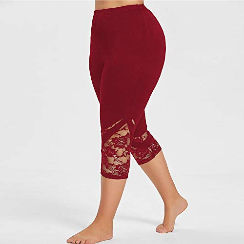 Dressin Women' Plus Size Yoga Leggings, Lace Skinny Sport Pants Exercise Trousers Solid Color Sport Pants for Women Red by Dressin (Image #2)