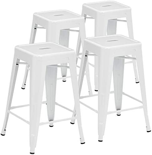 Pioneer Square Haley 24-Inch Backless Square-Seated Counter-Height Metal Stool, Set of 4, White Smoke