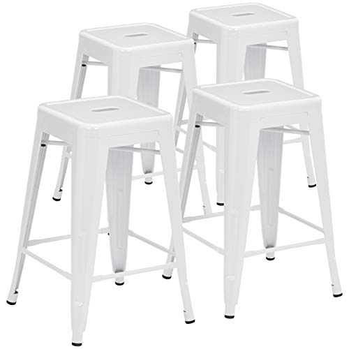 Pioneer Square Haley 24-Inch Backless Square-Seated Counter-Height Metal Stool, Set of 4, White Smoke ()