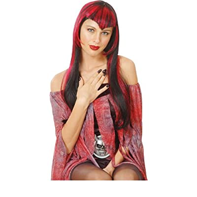 Long Red Black Vamp Vampire Halloween Wig