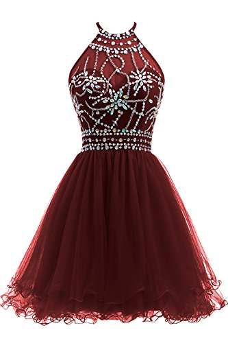 Beaded Short Dress Halter Dress (Ellames Women's Beaded Halter Homecoming Dress Short Tulle Prom Dress Burgundy US 2)