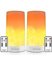 Flame Bulb Flame Effect Light, Lantern Lights Outdoor Flame Decor med Fjärrkontroll Och Timer, USB Uppladdningsbara Flame Bordslampor, Dekorativ Mood Light Night Light för Barn, Kreativ Present