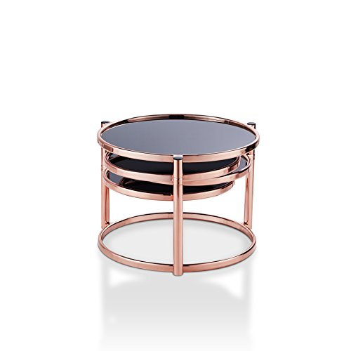 SYY-16914C17 Olivia Contemporary Style Round Swivel Shelf Coffee Table, Rose Gold (Coffee Table Roses)