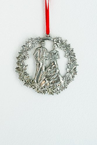 House of Morgan Pewter Hand Cast Pewter Wedding Day Bride and Groom Anniversary Ornament - Christmas Bride Cast
