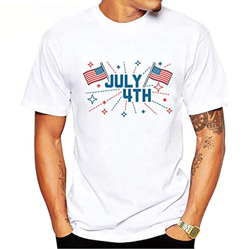 Tee T Shirt Short Sleeve Heavyweight Crew Neck Independence Day Casual Fashion Printed Blouse Top (XXL,5- White) -