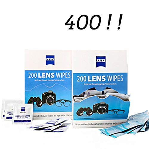 Lens Wipes - Suitable for Eyeglasses, Cellphones, Tablets, Camera Lenses, Swim Goggles, and Other Delicate Surfaces -Pre-Moistened,400 Individually Wrapped by LINDVALL