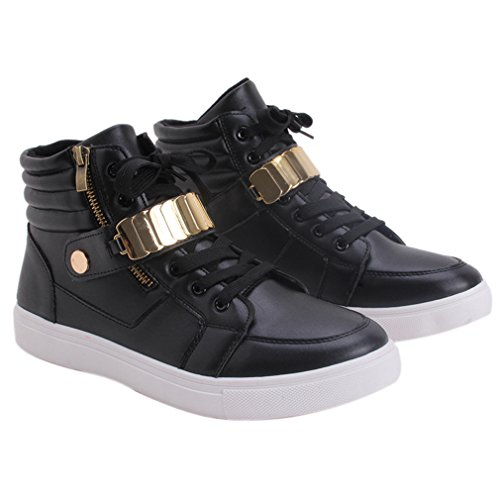 Dolland Velvet PU Buckle Warm Men's Shoes Casual Men's High-Top Fashion Shoes Lace-up Anti-skid Sneaker by Dolland