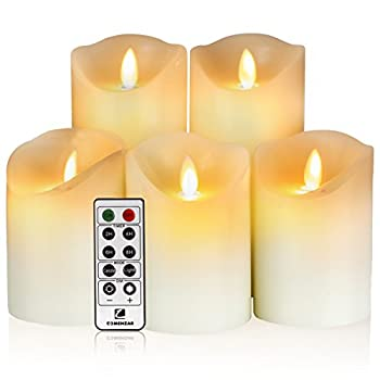 """Comenzar Flameless Candles,led Candles Realistic Moving Set Of 5(h4 4"""" 4"""" 6"""" 6"""" Xd3.25) Flickering Candles With Remote Timer(batteries Not Included) 2"""
