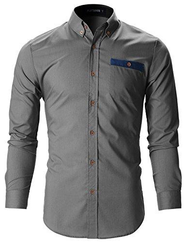 Stunning Design (FLATSEVEN Mens Slim Fit Stunning Design Casual Oxford Shirts (SH143) Gray, XL)