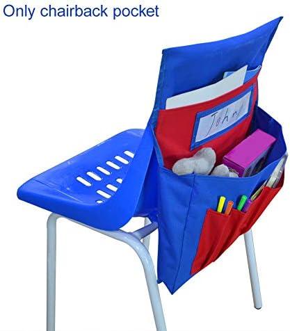 Hehsd0 Chairback Taschen Sitzlehne Organisatoren Klassenzimmer Große Kapazität Waschbar für Kinder Zeug Aufbewahrung Namensschild Schreibwaren Heim Wandbehang Schule Tragbar Polyester