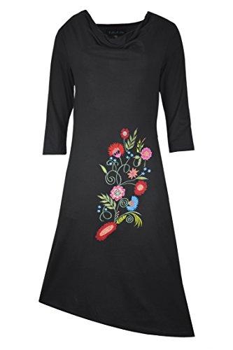 Robe manches courtes pour dames avec broderie devant. (BLACK-TC-TDR1280-L)