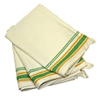 Paquete de 3 toallas de plato clásicas con rayas verdes de 18 pulgadas por 28 pulgadas de la tía Martha