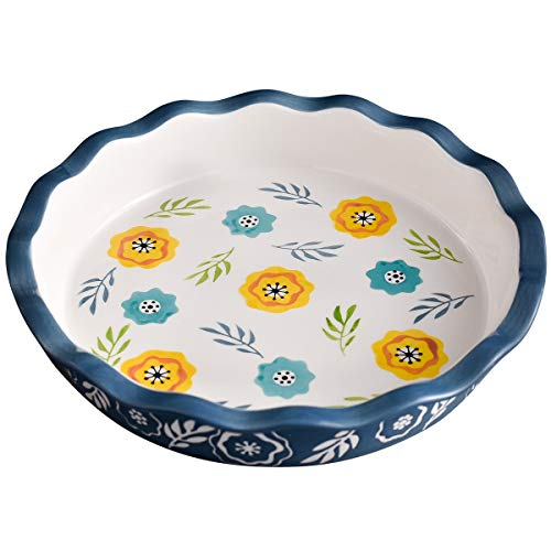 Ceramic Pie Pan, Wisenvoy 10.5 Inch Heat-Resistant Pie Dish, Non-Stick Pie Plate with Hand Painted Flower Design Safe for Dishwasher, Microwaves, Ovens, Blue (Dishes Flower Ceramic)