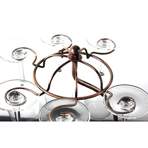 Countertop Wine Glass Rack Holder Wine Bottle Display Stands,Storage 6 Stemware 1 Bottle,Bronze Metal Bicycle (Bronze)