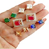 M Creation Gold-plated Multi-color 5 In 1 Interchangeable Stud Earrings For Women/girls