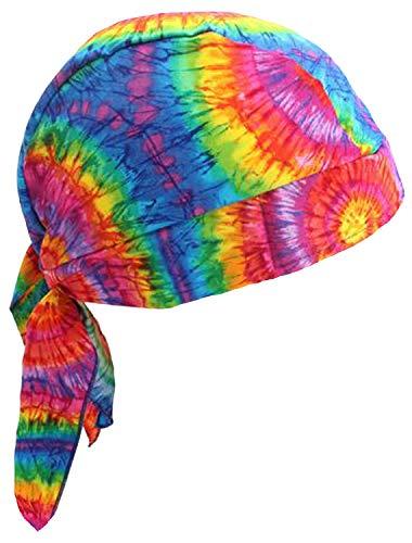 Tie Dye Doo Rag USA Made Headwrap 1960s Hippie Bandana Skull Cap Durag Mens Womens ()