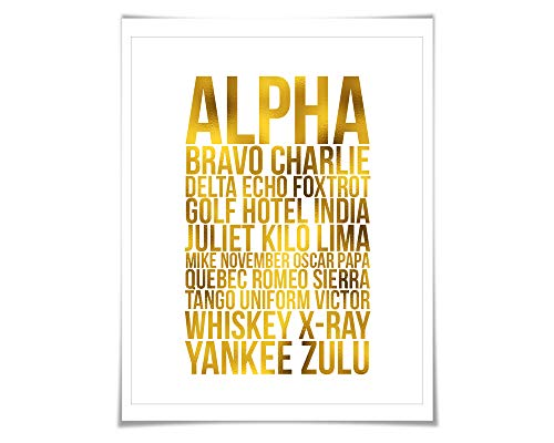 Alpha Bravo Charlie Gold Foil Art Print. 7 Foil Colours/3 Sizes. Phonetic Alphabet. Aviation. NATO Spelling. Military Pilot Gift. ()