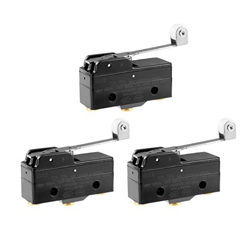 (uxcell 3pcs G1216-1RW3 Screw Terminals Long Hinge Roller Lever Micro Limit Switch 380VAC 15A)