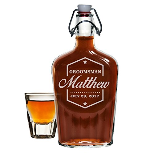 Custom Glass Flask - Engraved Personalized Swing Top Flask - Groomsmen Flask (Badge Style - 8.5 oz)