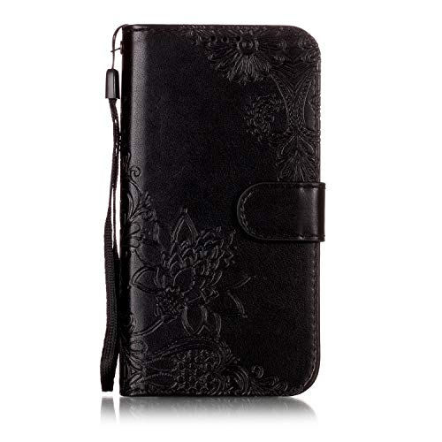 Shinyzone Wallet Case for Samsung Galaxy J3 2018,Embossed Henna Mandala Pattern Series,Smart Stand and Magnetic Closure Leather Folio Flip Cover with ID Credit Card Slots-Black by Shinyzone