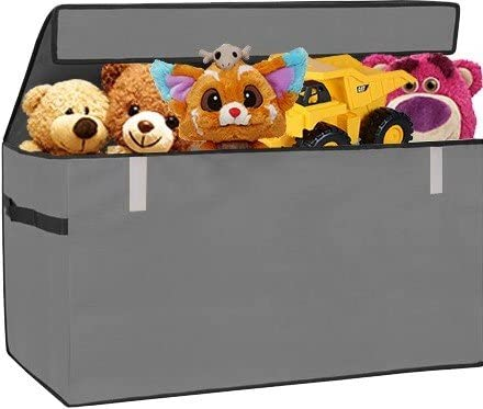 Prorighty Collapsible Toy Chest for Kids (XX-Large) Storage Basket w/Flip-Top Lid | Toys Organizer Bin for Bedrooms Closets Child Nursery | Store Stuffed Animals Games Clothes (Gray)