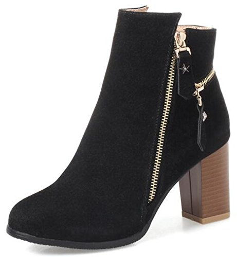 IDIFU Womens Retro Round Toe Side Zipper Faux Suede Bikers Ankle Boots With Mid Chunky Heels Black uuXHCSQx