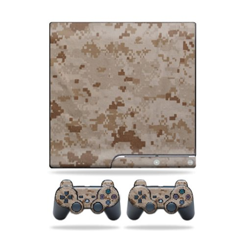 MightySkins Protective Vinyl Skin Decal Cover for Sony Playstation 3 PS3 Slim skins + 2 Controller skins Sticker Desert Camo ()