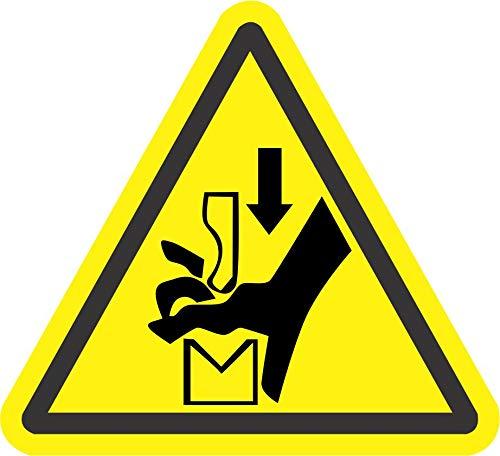- INDIGOS UG - Sticker - Safety - Warning - ISO Safety Label Sign - International Warning Hand Crushing Between Press Brake Tool Symbol - Self Adhesive Sticker 100mm Diameter - Decal for Office